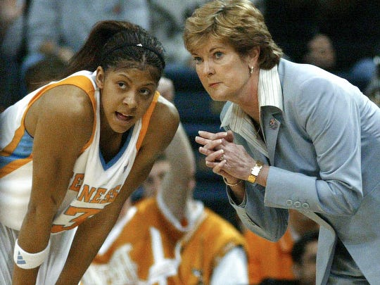 In this March 19, 2006 photo, Tennessee coach Pat Summitt talks with Candace Parker during their 102-54 win over Army in the first-round of the NCAA tournament in Norfolk, Va. Parker scored 26 points.
