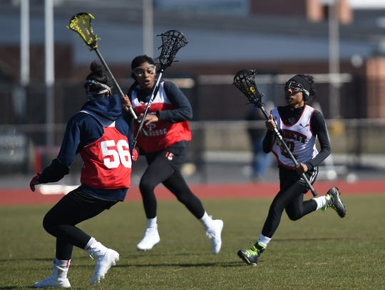 James M. Bennett High's Jaibyn Hull takes part in a scrimmage on Mar. 16, 2018. Hull and teammate Kayla Beale will head to Stevenson University after graduation.