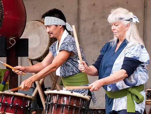 Hiryu Daiko drummers at Kindleberger Park.