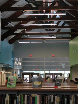 """The new Lewes Public Library offers vaulted ceilings and plenty of natural light. The 28,500 square foot building incorporates many """"green"""" elements into its design."""