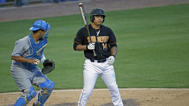 ASU #14 RJ Ybarra reacts after striking out in the 2nd inning against UCLA at Phoenix Municipal Stadium in Phoenix  on May 8, 2015.