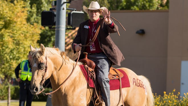 NMSU provost Dan Howard, set to retire August 1, is seen at the university's 2017 homecoming parade.