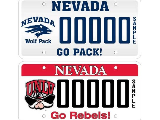 The license plates for Nevada (top) and UNLV.