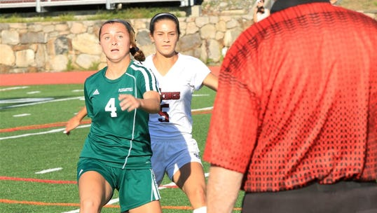 Pleasantville's Remi Manna (4) plays during the Mount Pleasant Cup championship game against Valhalla at Valhalla High School on September 5th, 2015. Pleasantville on the game 2-1 in overtime.