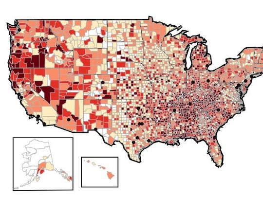 Prescribing rates by county, 2016