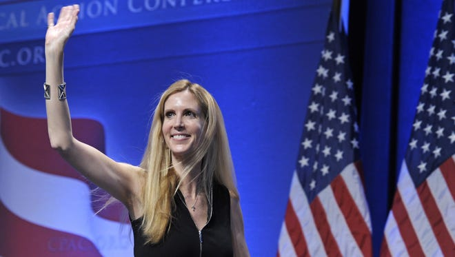 In this Feb. 12, 2011, photo, Ann Coulter waves to the audience after speaking at the Conservative Political Action Conference (CPAC) in Washington.