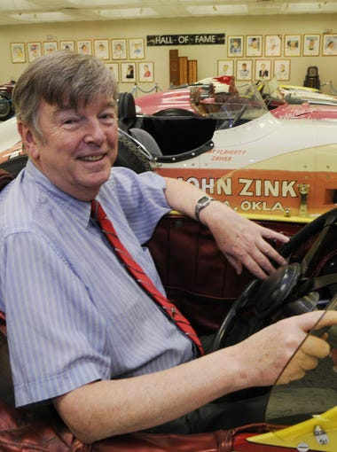 Donald Davidson with  roadsters that ran at IMS his  favorite is the 1957 lay down #9, Belond Exhaust Special, driven by Sam Hanks.
