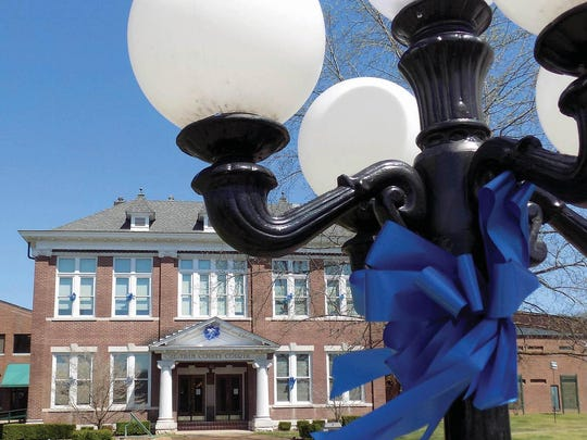 The Cheatham County Courthouse went blue for autism