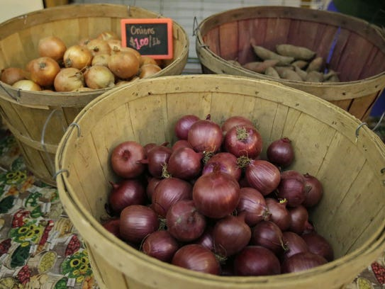 Produce is on display at the Olden Organics booth at