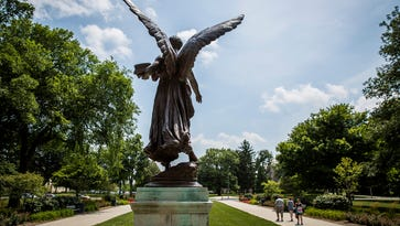 The statue Beneficence on Ball State's campus.
