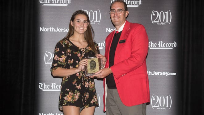 Keira Marks with North Jersey Media Group reporter Darren Cooper. NorthJersey.com celebrated local athletes at its Sports Awards event at The Prudential Center in Newark on June 14, 2017.