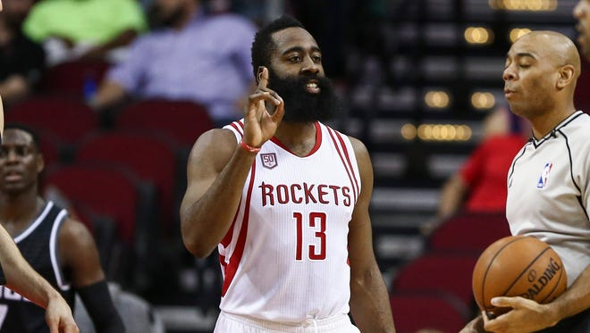 James Harden tied Hakeem Olajuwon's team record with his 14th triple-double.