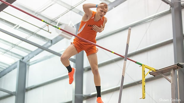 Newcomerstown's Hunter Garretson, shown here at the 2020 Division II/III Indoor State Championship meet, cleared 16 feet, 6 inches to take the victory on Saturday at the  Ohio Independent Association of Athletes Pole Vault Championships, hosted by the Industrial Vault Club in Wooster. Fairless vaulter Brady Wickman finished third at 15-6. Photo provided