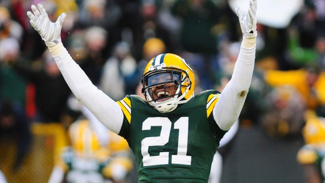 Green Bay Packers safety Ha Ha Clinton-Dix celebrates after Micah Hyde's punt return for a touchdown against the Detroit Lions on Dec. 28 at Lambeau Field.