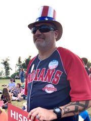 Indians fan for Trump at the rally in Pensacola.