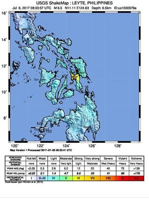A 6.5 magnitude earthquake struck the city of Masarayo, Leyte Island, in the Philippines on July 6.