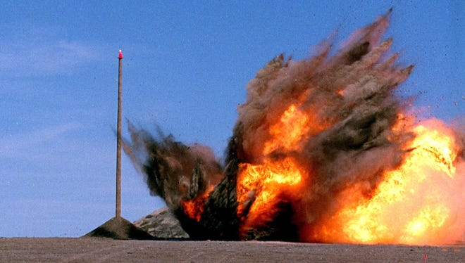 A Tactical Tomahawk, the next generation of Tomahawk cruise missile, explodes on target while executing a land-attack mission during a contractor test and evaluation in 2002.