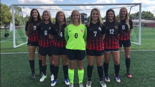 The Oak Hills seniors are, from left: Brooke Elliot, Abby McElwee, Sophie Denier, Haley Foster, Hannah Bacon, Kayce Bassman and Brooke Chaille.