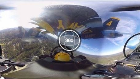 The legendary Blue Angels fly in formation during the screen captured still of this exclusive 360-degree video ride.