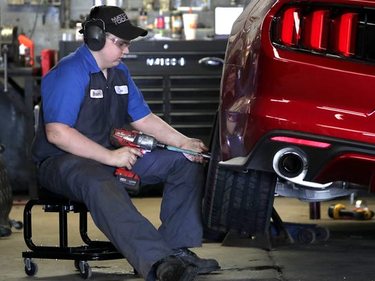 Brian Dorschner was one of five high school students to receive his degree in automotive maintenance and light repair from Fox Valley Tech on Thursday.