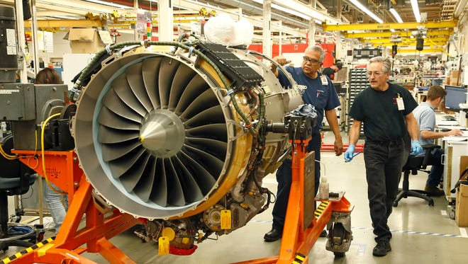 A turbine engine for an aircraft is assembled at the Honeywell plant in Phoenix on February 19, 2016.