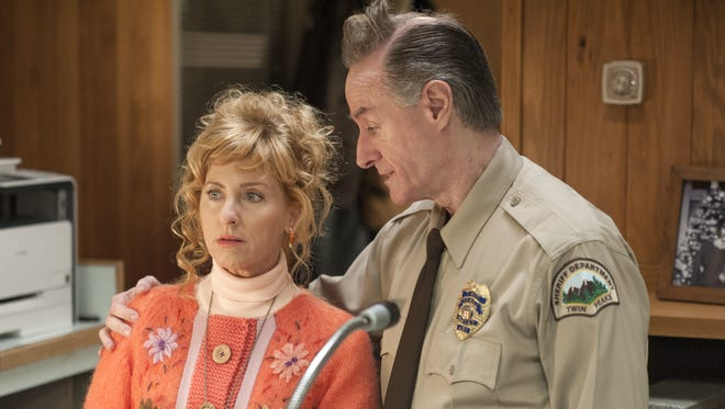 Receptionist Lucy (Kimmy Robertson), left,  and deputy Andy (Harry Goaz) are still at the sheriff's department when 'Twin Peaks' returns on Showtime.