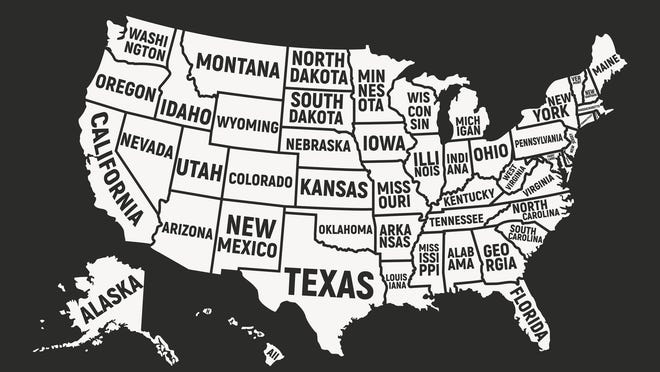 Map of the United States with states outlined and labeled
