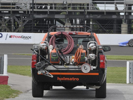 The Holmatro safety team was ready to roll if needed on May 21, 2017, at Indianapolis Motor Speedway.
