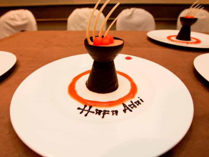 A latte stone treat created by a chef from the Hyatt