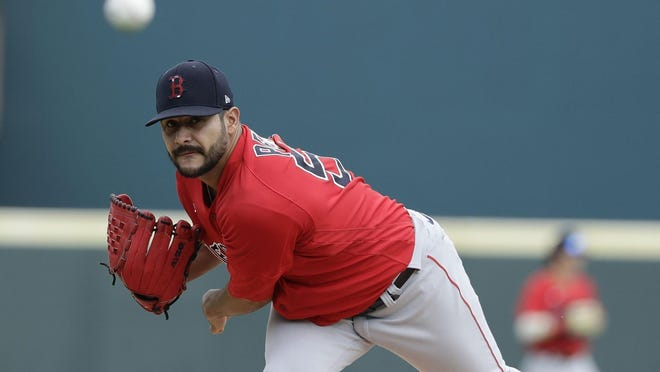 Martin Perez, shown in February at spring training, was outstanding Monday night.