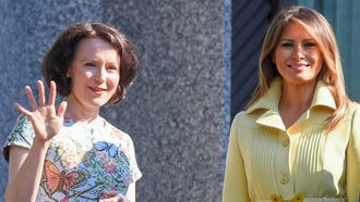 First lady Melania Trump and Jenni Haukio, first lady of Finland, at the president's official residence in Mantyniemi, in Helsinki, Finland, July 16, 2018.