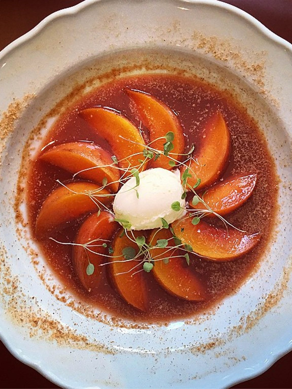 Peaches in blood orange sauce at Le Sirene, Larchmont.
