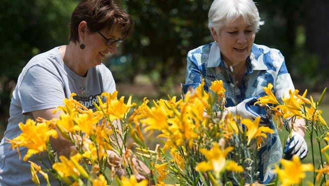 Garden Club members, Jill Cleaver, left, and Lynn Manthei, right, prepares one of the organization's flower gardens for this weekends Secret Garden Tour. The tour starts Saturday morning at 10 a.m. and last until 4 p.m. and on Sunday from 1 p.m. until 4 p.m.