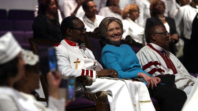 Hillary Clinton looks on during church services at Mt. Airy Church of God in Christ on Nov. 6, 2016, in Philadelphia.