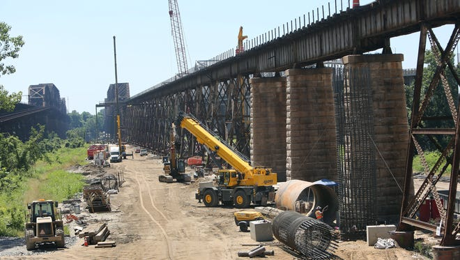 June 10, 2016 - The BNSF Railway Co. is conducting major renovations of the nearly 125-year-old Frisco Bridge over the Mississippi River.
