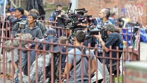 "Carmeras and crew members are in place during the shooting of a scene in HBO's ""Show Me a Hero,"" which tells the story of the Yonkers desegregation crisis of the 1980s."