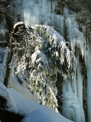 Awosting Falls, frozen in ice at Minnewaska State Park Preserve in Ulster County.