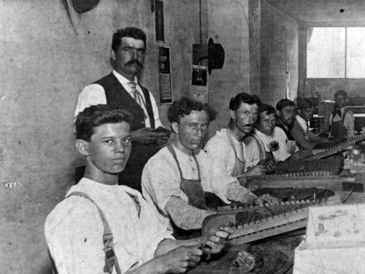 Julius Adams in his factory