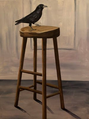 "The new show, ""Birds on Chairs,"" at the Kimmel Harding Nelson Center for the Arts in Nebraska City features paintings by Omaha artist Julie Schram, including ""Crow on a Stool."""