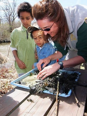 MDC Volunteer Naturalist Angie Jungbluth works with kids at a pond-life exploration station during a Wetlands for Kids Day event last summer at Busch Conservation Area in St. Charles. MDC praises its many volunteers for dedicating their time to helping conservation efforts. The public is encouraged to practice citizen science to connect with nature.