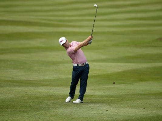 Sweden's David Lingmerth in action during day three of the PGA Championship at Wentworth Club, in Virginia Water, England, Saturday May 28, 2016.  (Steve Paston / PA via AP) UNITED KINGDOM OUT - NO SALES - NO ARCHIVES