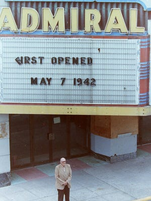 Ike Parker stands outside the Admiral Theatre prior to the beginning of its 1997 renovation.