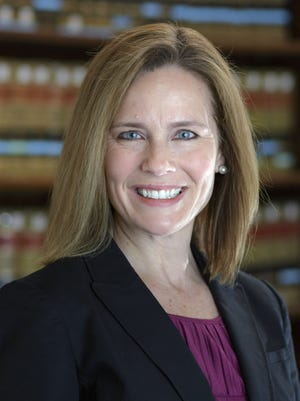 This 2017 photo provided by the University of Notre Dame Law School in South Bend, Ind., shows Judge Amy Coney Barrett. Barrett is on President Donald Trump's list of potential Supreme Court Justice candidates to fill the spot vacated by retiring Justice Anthony Kennedy.