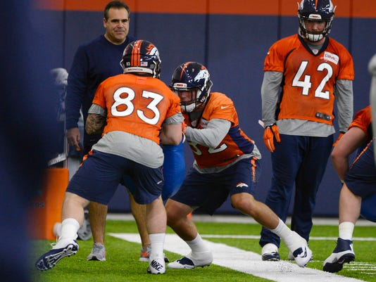 Denver Broncos Jeff Heuerman (82) runs through drills with Brock Lutes (83) during a rookie minicamp at an NFL football facility, Friday, May 8, 2015 in Englewood, Colo. (John Leyba/The Denver Post via AP) MAGS OUT; TV OUT; INTERNET OUT; NO SALES; NEW YORK POST OUT; NEW YORK DAILY NEWS OUT; MANDATORY CREDIT