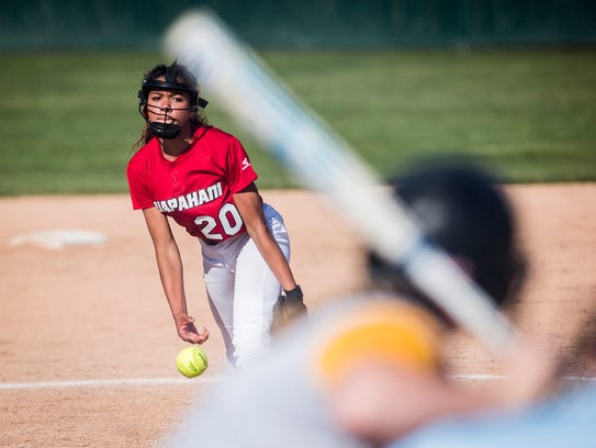 Wapahani's Alyvia Smith pitches against Cowan during