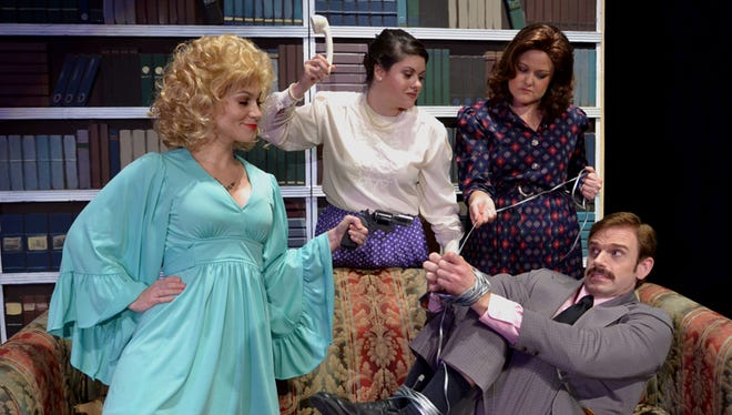 Doralee (Jilian Wesolowski), Judy (Cristi Izquierdo) and Violet (Rachael Kage) get their sexist boss (Jeff Hoh) right where they want him.