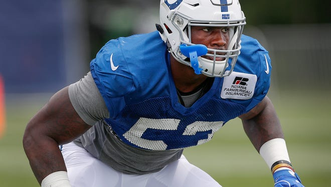 A quad injury behind him, Colts linebacker Darius Leonard has impressed during training camp at Grand Park in Westfield.