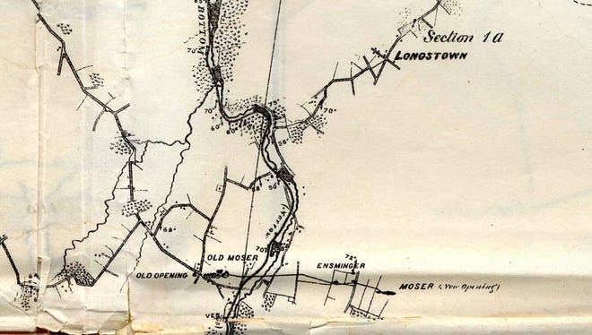 Persifor Frazer's 1876 map showing Ore Valley and the location of the iron banks.