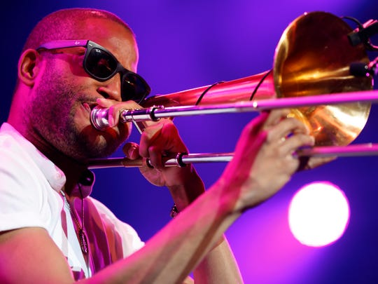 Troy Andrews, aka Trombone Shorty, performs during