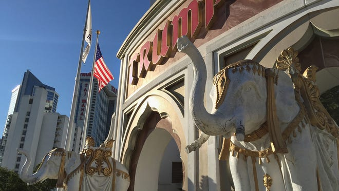 The Trump Taj Mahal casino stands open for business on Aug. 28, 2015, in Atlantic City, New Jersey.